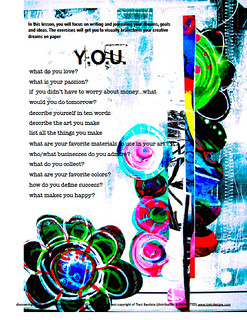 a page from Lesson one discovering YOU ecourse | by treiCdesigns