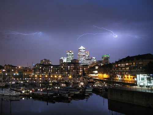 cloud to cloud - lightning over canary wharf | by John Mason