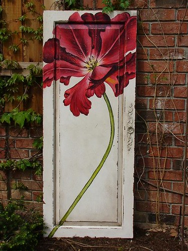 SOLD GuildMaster Red Floral Door Panel | by Sophie's Place