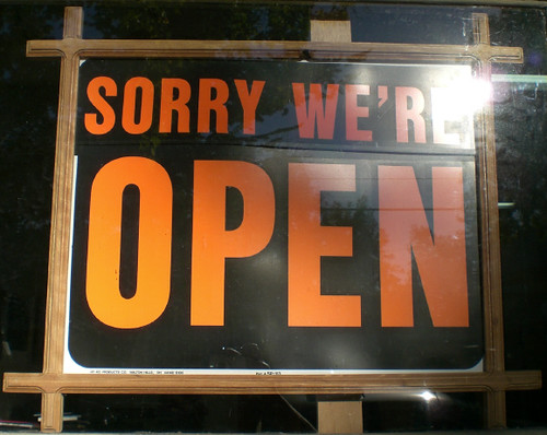 'sorry we're open' sign | by kittyz202