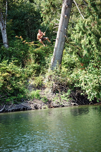 Jesse on the Snoqualmie river rope swing | by jc.winkler