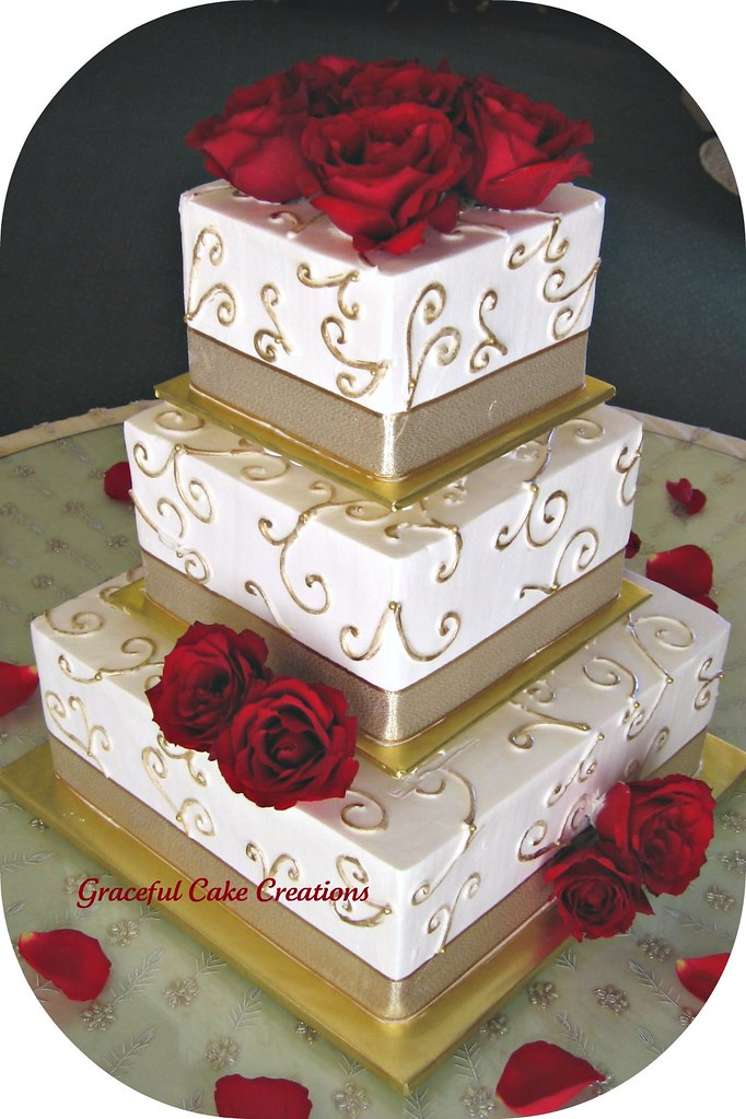 Elegant Ivory and Gold Wedding Cake   Grace Tari   Flickr