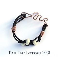 Whie Lampwork Leather Bracelet | by Four Tails Lampwork
