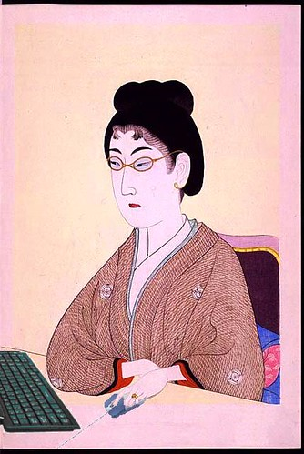 Portrait of a Beauty Blogging, after Chikanobu Toyohara | by Mike Licht, NotionsCapital.com