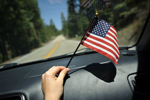 American Flag in Our Car | by goingslowly