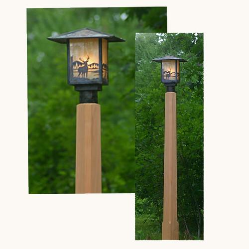rustic outdoor lighting with cedar lamp post | www.barnhouse… | Flickr