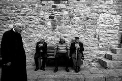 Three old men and a priest in Geraci Siculo | by piotr.pedziszewski