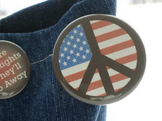 Political Buttons: American Flag Peace Symbol | by tasket.basket
