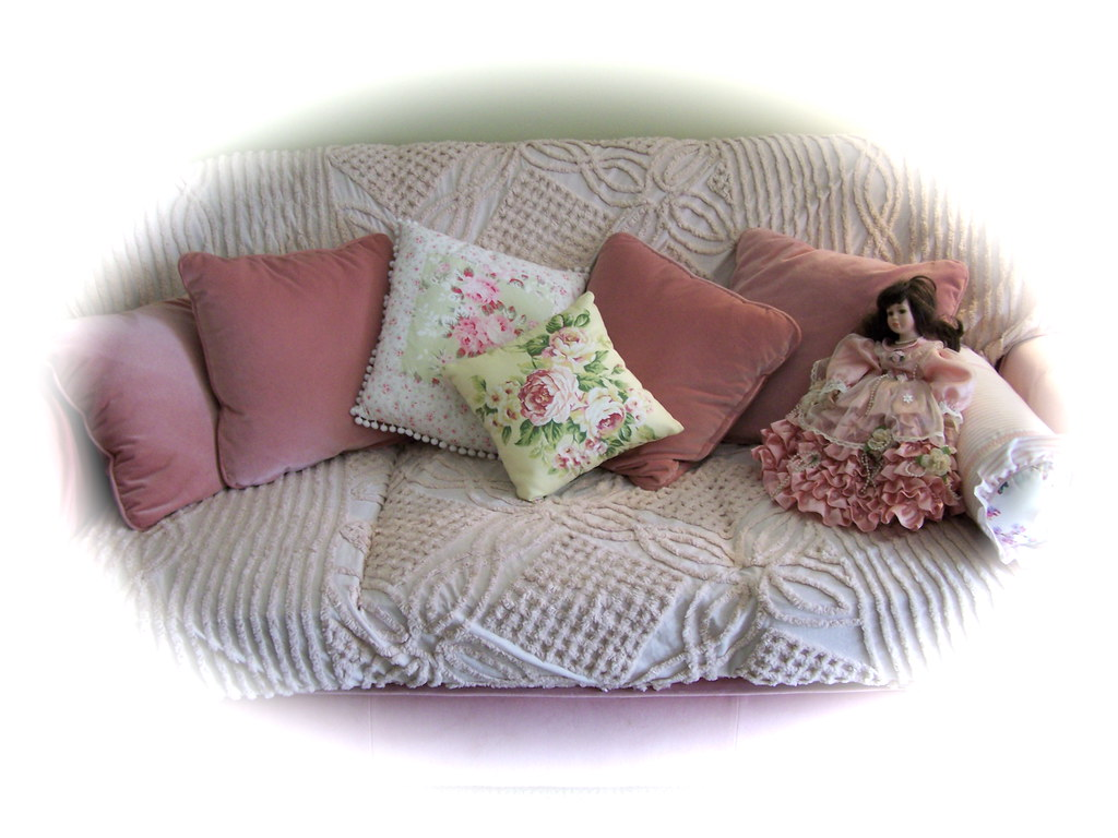 Romantic Shabby Chic Furniture Vintage Chenille Pink Pil