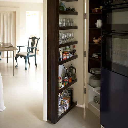 Finding Hidden Storage In Your Kitchen Pantry: White Open Plan Dining Room Kitchen Hidde