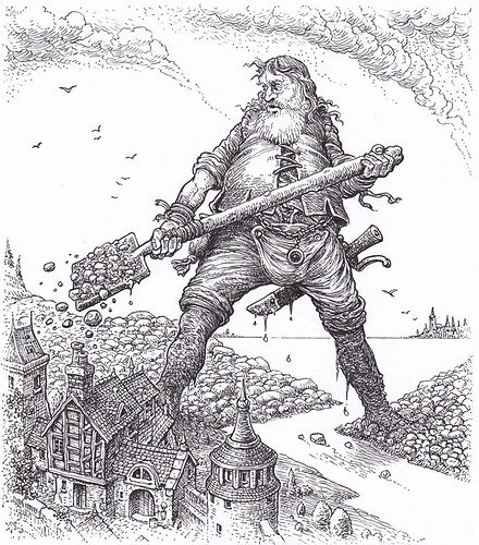 Templar Giant - In illustrating the story of a good natured giant who diverts flood waters to save a human town, I wanted to contrast the size of the giant and the toy-like nature and fragility of the buildings. | by widdershins3
