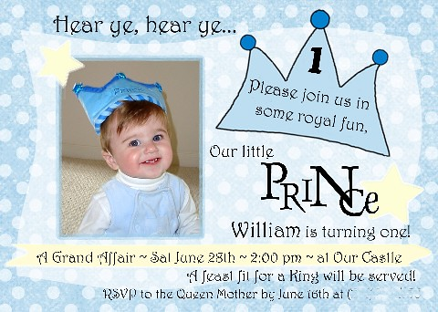 Little Prince 1st Birthday Invitation amyscustomgreetings – Little Prince Birthday Invitations