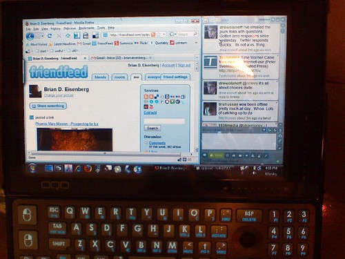 Friendfeed & Twhirl on my umpc | by Brian Daniel Eisenberg