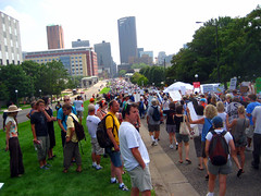 a river of protesters going towards the Xcel | by Vemrion