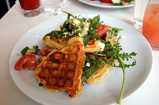 Spring Onion and Corn and Feta Waffle | by su-lin
