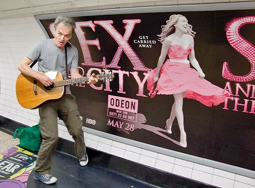 Sex and the City, Saturday busker, Charing Cross Underground, London | by chrisjohnbeckett