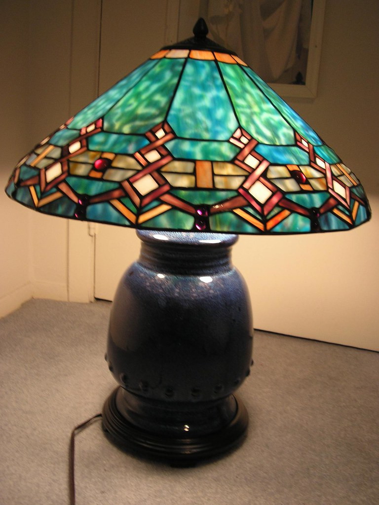 ... FOR SALE: Tiffany Style Turquoise Southwestern Stained Glass Lamp | By  Merlinzor