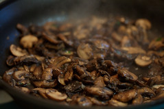 Saute mushrooms and shallots | by Elise Bauer