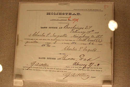 This is the homestead permit that Charles Ingalls, Laura Ingalls Wilder's father, was given to establish their homestead.