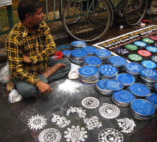 Man selling rangoli stencils mukti flickr 4 selling design