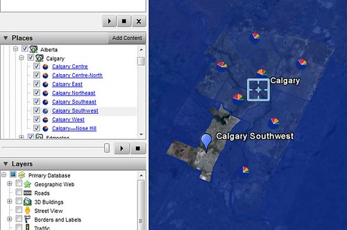 Calgary & Places panel / Canadian Federal Elections 2008 on Google Earth | by Cedric Sam