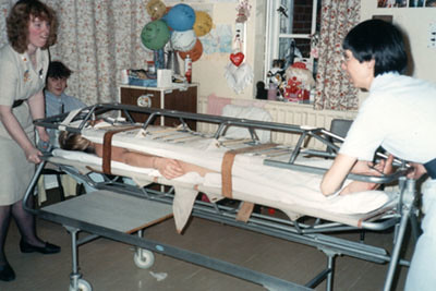 Stryker Frame Hospital Bed Being Turned On The Stryker