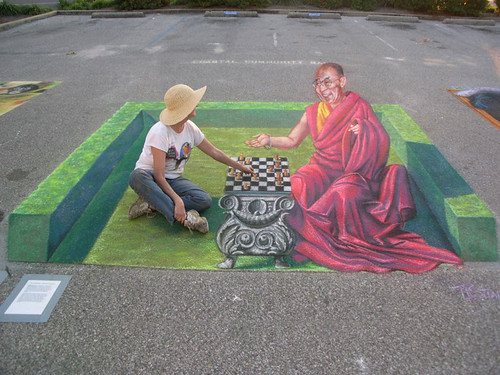 3D Street Painting - Chess with the Dalai Lama | by Tracy Lee Stum