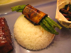 grilled eggplant with hoisin green beans over jasmine rice | by tofu666