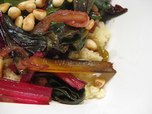 Swiss Chard with Caramelized Onions, Pine Nuts & Sultanas | by katbaro