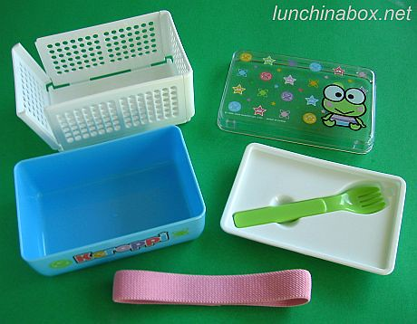 Keroppi combo bento box and collapsible sandwich case (exploded) | by Biggie*