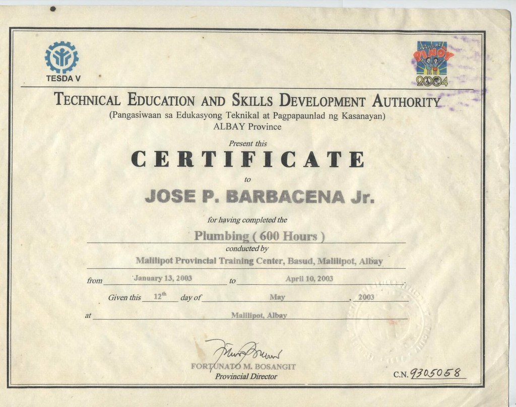 Tesda Certificate Plumber 5 Yrs Experience Call Me 63919 Flickr