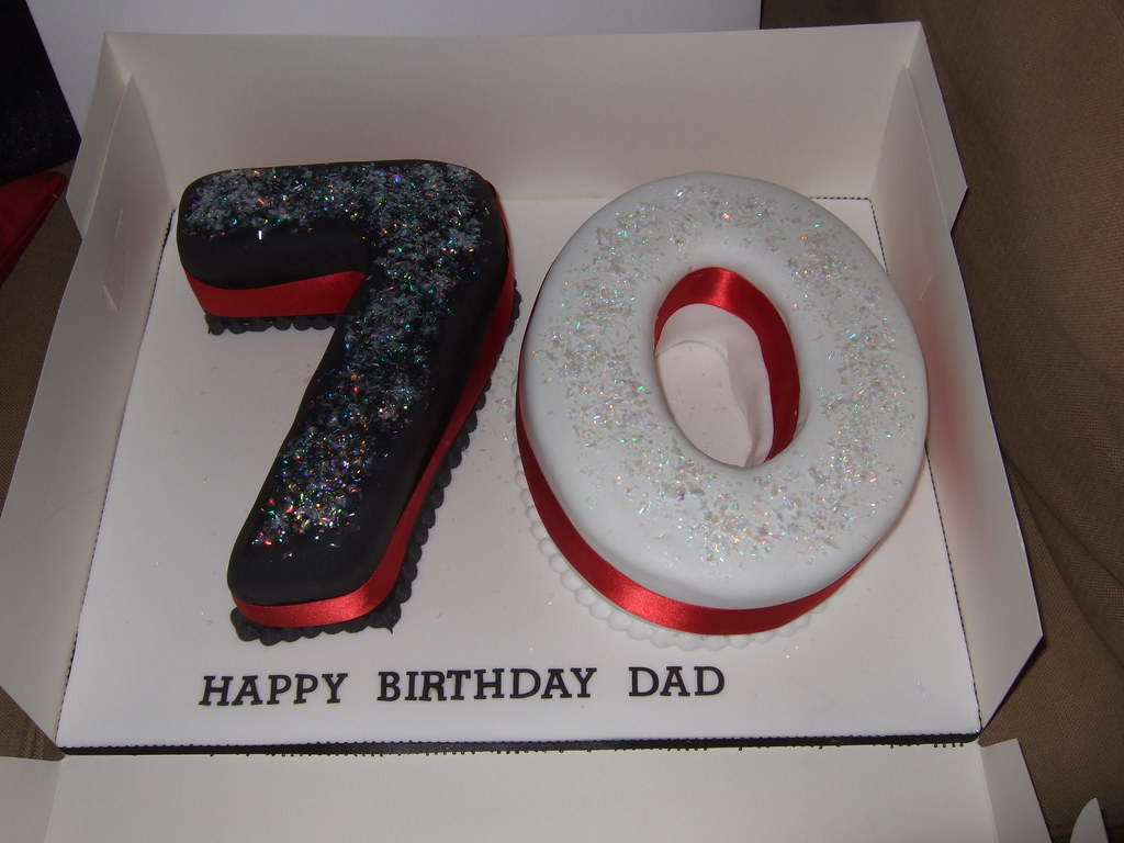 70th Numbers Birthday Magic Sparkle Cake