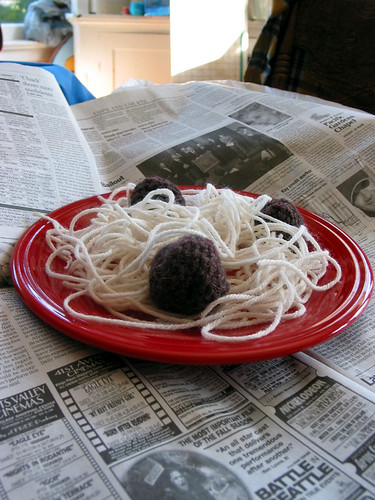 Yarn spaghetti with crochet meatballs. | by Green Kitchen