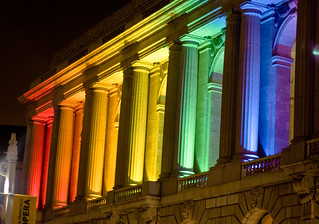 SF Opera house at night with rainbow lights | by photomato