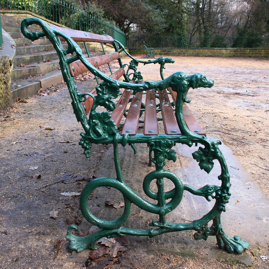 Perfect Art Nouveau Style Bench(with Raindrops!) In Avenham Park, Preston.