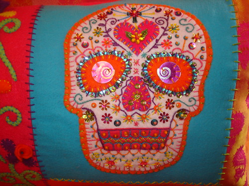 Sugar Skull Pillow Closeup | by eklektick