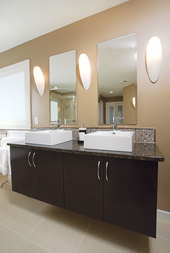 ... Modern Bathroom, Two Sinks, Dark Brown Wood Cabinets | By Raymac  Remodeling