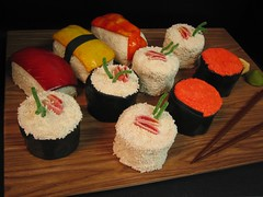 sushi  cakes on board | by debbiedoescakes