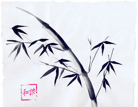 sumi e bamboo painting hungry little bird flickr