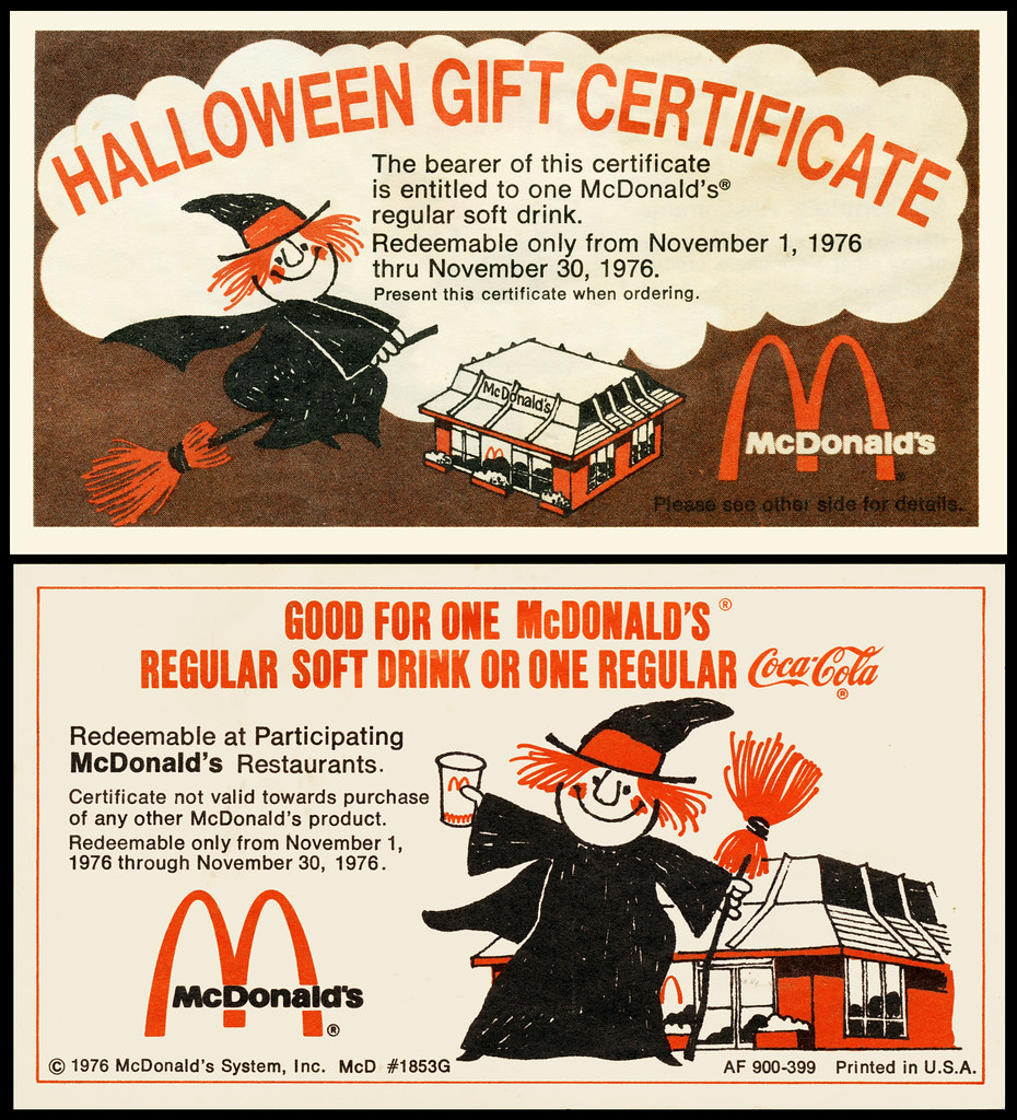 Mcdonalds halloween gift certificate 1976 really love flickr mcdonalds halloween gift certificate 1976 by jasonliebig 1betcityfo Image collections