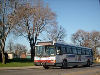 Eastbound Cta Route 77 Belmont Avenue Bus Departing The