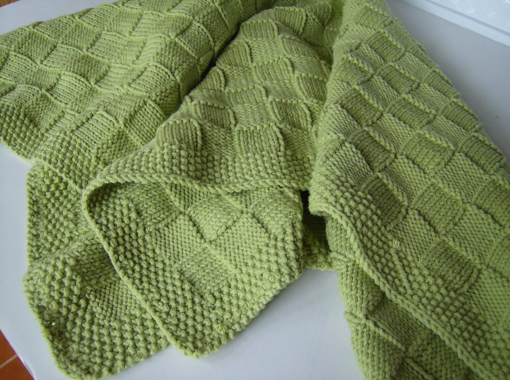 Lime Basketweave Knit Baby Blanket Finished Another One Flickr