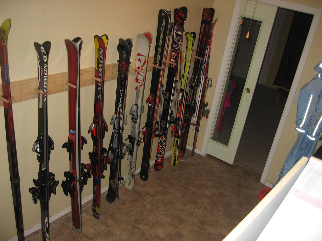 Badass Homemade Ski Rack Built And Mounted In The Foyer Of