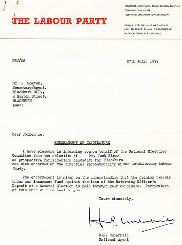 Jack Straw endorsed as Blackburn's candidate in 1977 | by blackburnlabour.org