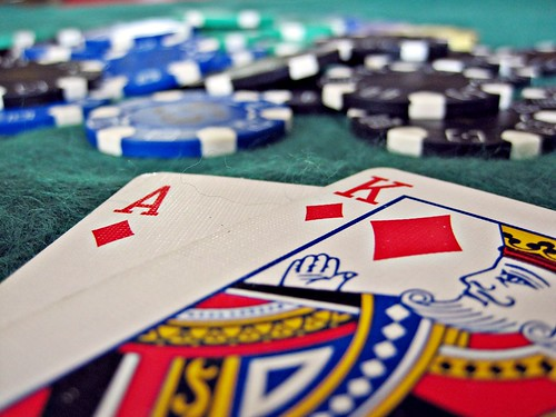 A blackjack hand at the casino