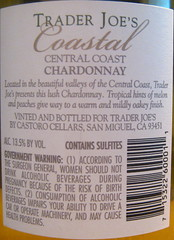 Trader Joes 2006 Chardonnay (back) | by 2 Guys Uncorked