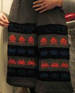 081219. space invaders scarf! | by Famous the Cat