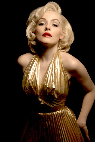 Marilyn Monroe Impersonator Arianna in Gold Travilla Dress ...