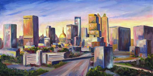 Atlanta skyline atlanta skyline oil painting on canvas for Atlanta oil painting artists
