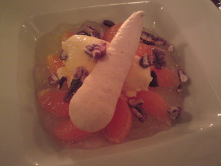 Le Gaigne: Poached clementines with lemon jelly and pecans | by clotilde